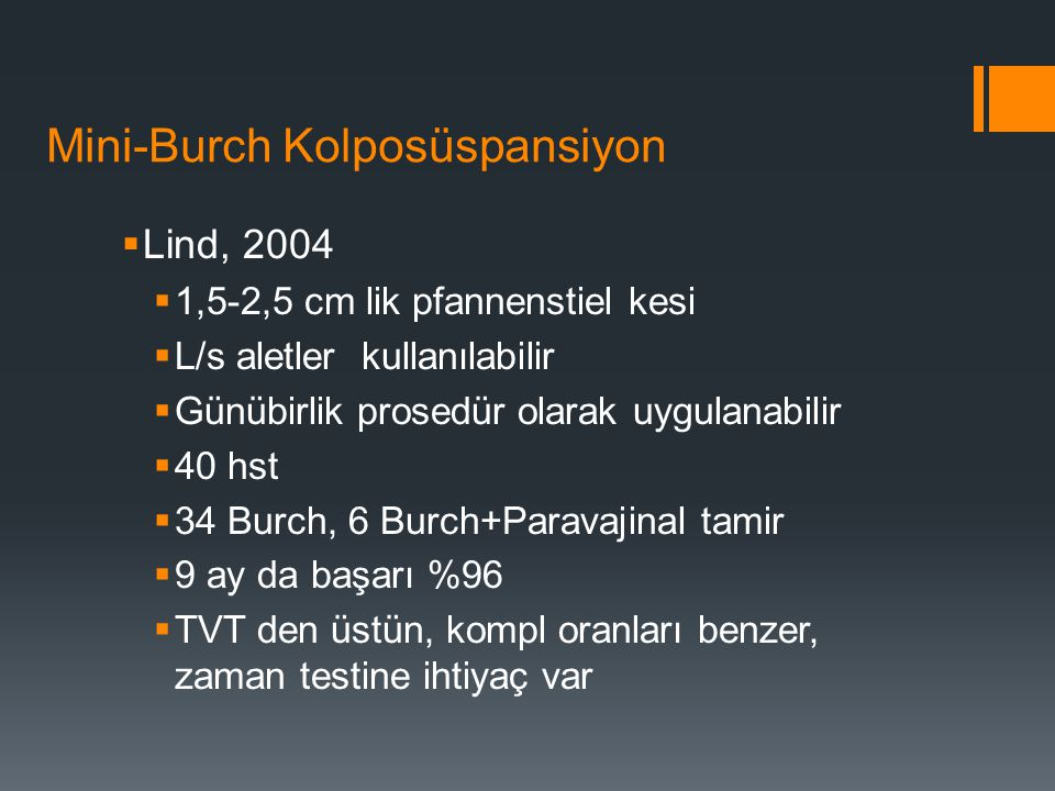Mini-Burch Kolposüspansiyon