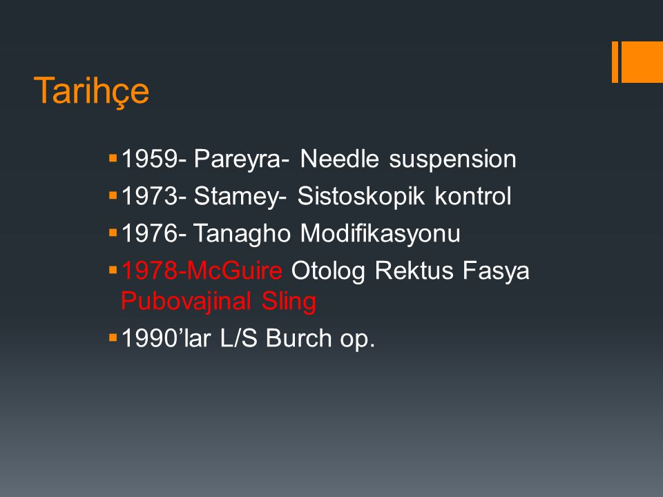 Tarihçe 1959- Pareyra- Needle suspension