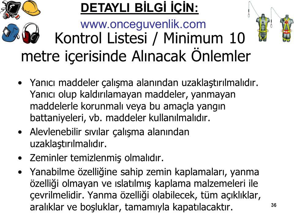 Kontrol Listesi / Minimum 10 metre içerisinde Alınacak Önlemler