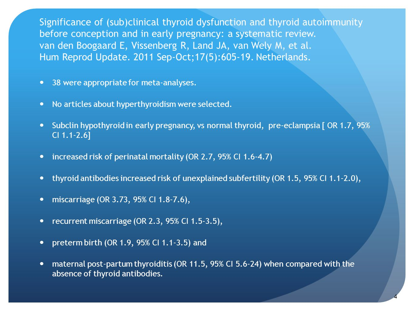 Significance of (sub)clinical thyroid dysfunction and thyroid autoimmunity before conception and in early pregnancy: a systematic review. van den Boogaard E, Vissenberg R, Land JA, van Wely M, et al. Hum Reprod Update. 2011 Sep-Oct;17(5):605-19. Netherlands.