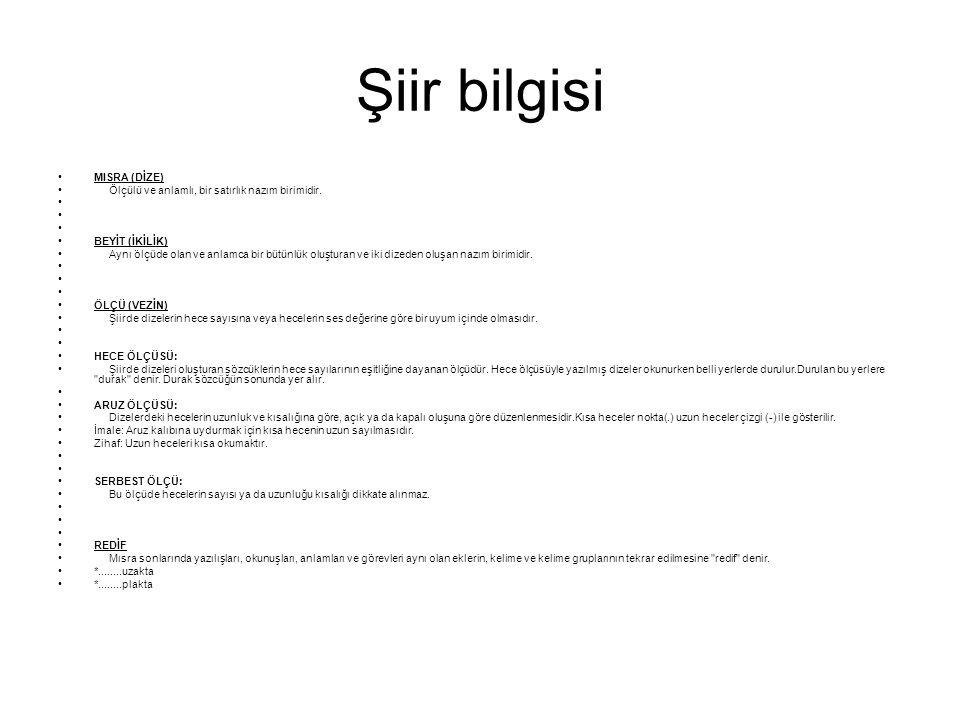 Şiir bilgisi MISRA (DİZE)