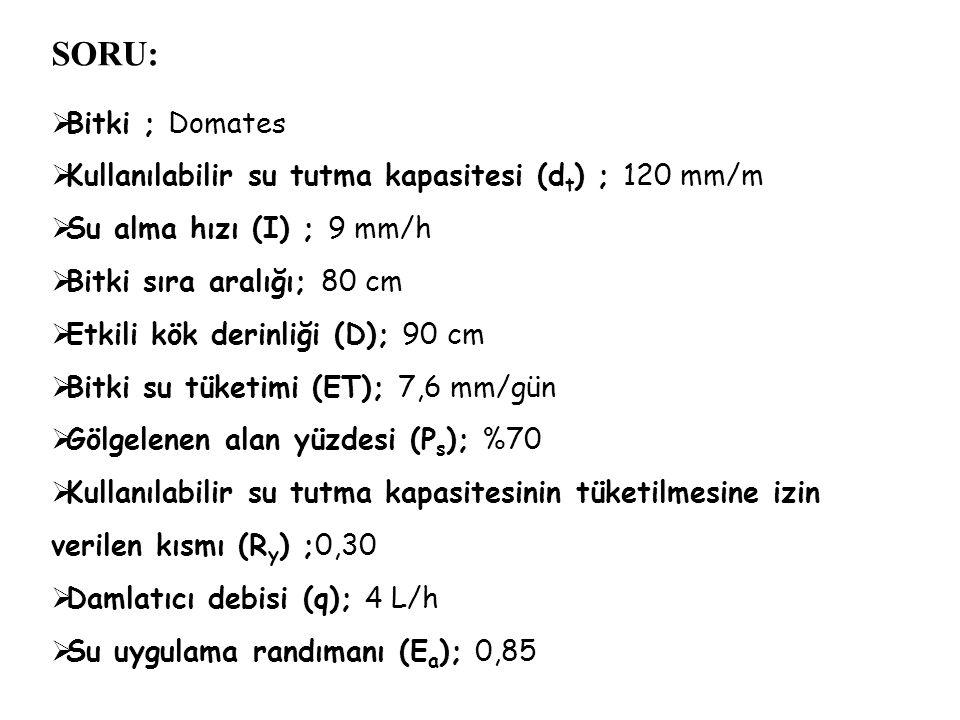 SORU: Bitki ; Domates. Kullanılabilir su tutma kapasitesi (dt) ; 120 mm/m. Su alma hızı (I) ; 9 mm/h.