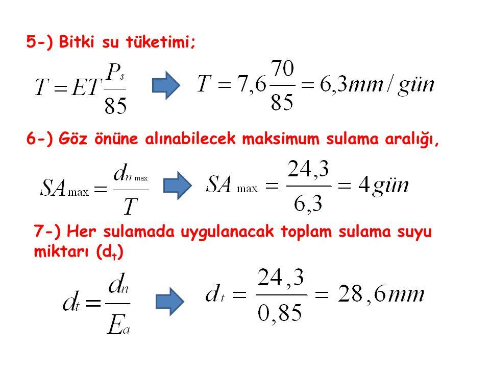 5-) Bitki su tüketimi; 6-) Göz önüne alınabilecek maksimum sulama aralığı, 7-) Her sulamada uygulanacak toplam sulama suyu miktarı (dt)