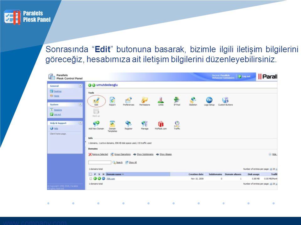 Sonrasında Edit butonuna basarak, bizimle ilgili iletişim bilgilerini göreceğiz, hesabımıza ait iletişim bilgilerini düzenleyebilirsiniz.