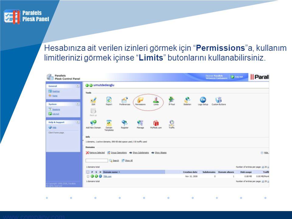 Hesabınıza ait verilen izinleri görmek için Permissions a, kullanım limitlerinizi görmek içinse Limits butonlarını kullanabilirsiniz.