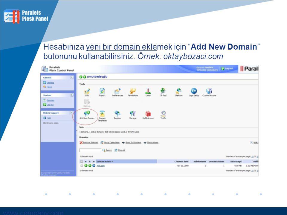 Hesabınıza yeni bir domain eklemek için Add New Domain butonunu kullanabilirsiniz.