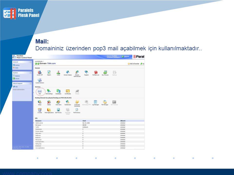 Mail: Domaininiz üzerinden pop3 mail açabilmek için kullanılmaktadır..