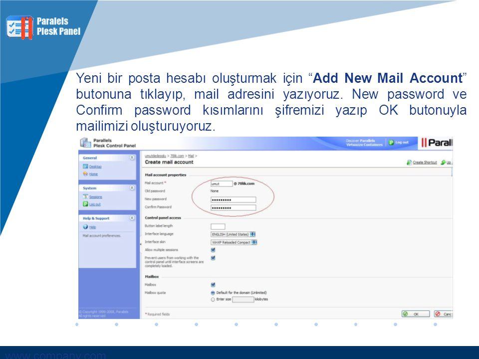 Yeni bir posta hesabı oluşturmak için Add New Mail Account butonuna tıklayıp, mail adresini yazıyoruz.