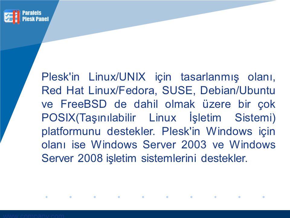 Plesk in Linux/UNIX için tasarlanmış olanı, Red Hat Linux/Fedora, SUSE, Debian/Ubuntu ve FreeBSD de dahil olmak üzere bir çok POSIX(Taşınılabilir Linux İşletim Sistemi) platformunu destekler.