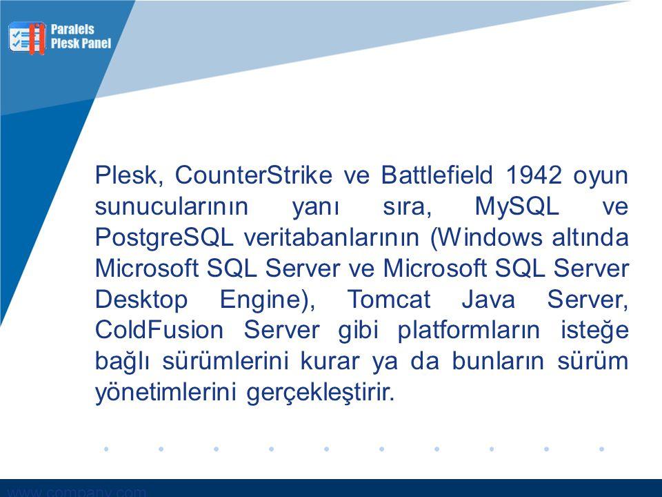 Plesk, CounterStrike ve Battlefield 1942 oyun sunucularının yanı sıra, MySQL ve PostgreSQL veritabanlarının (Windows altında Microsoft SQL Server ve Microsoft SQL Server Desktop Engine), Tomcat Java Server, ColdFusion Server gibi platformların isteğe bağlı sürümlerini kurar ya da bunların sürüm yönetimlerini gerçekleştirir.