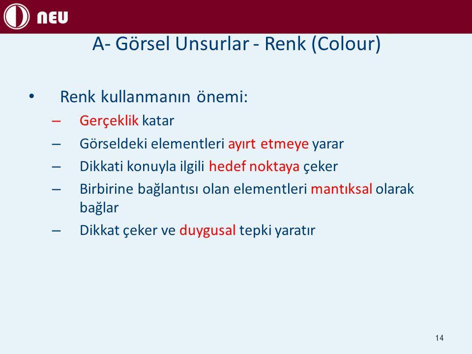 A- Görsel Unsurlar - Renk (Colour)