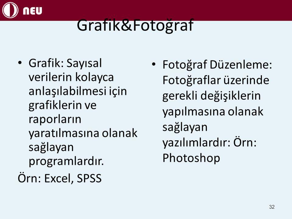 Grafik&Fotoğraf Grafik: Sayısal verilerin kolayca anlaşılabilmesi için grafiklerin ve raporların yaratılmasına olanak sağlayan programlardır.