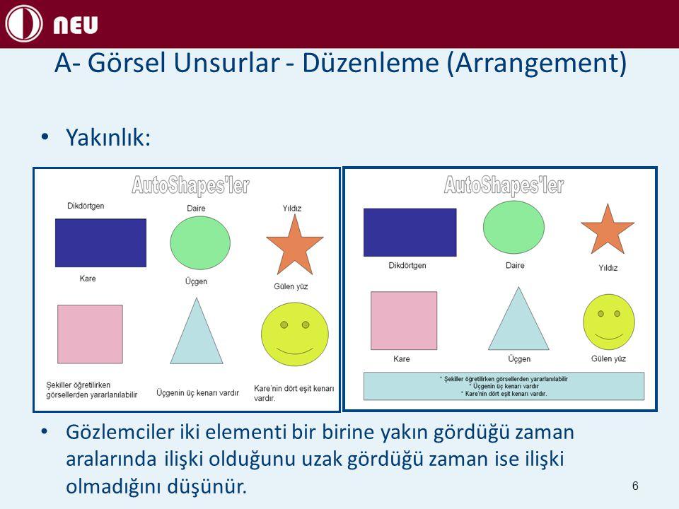 A- Görsel Unsurlar - Düzenleme (Arrangement)