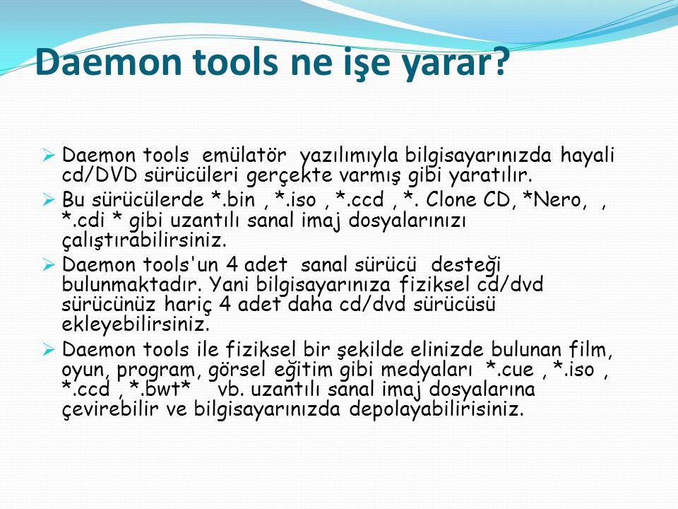 Daemon tools ne işe yarar