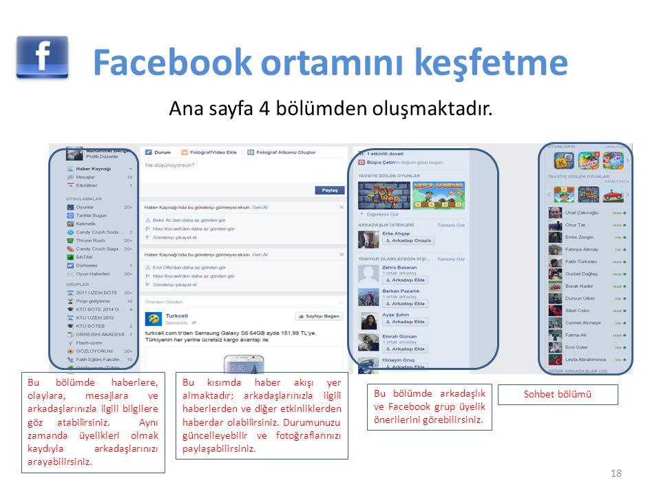 Facebook ortamını keşfetme