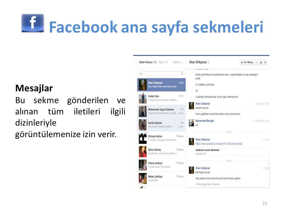 Facebook ana sayfa sekmeleri