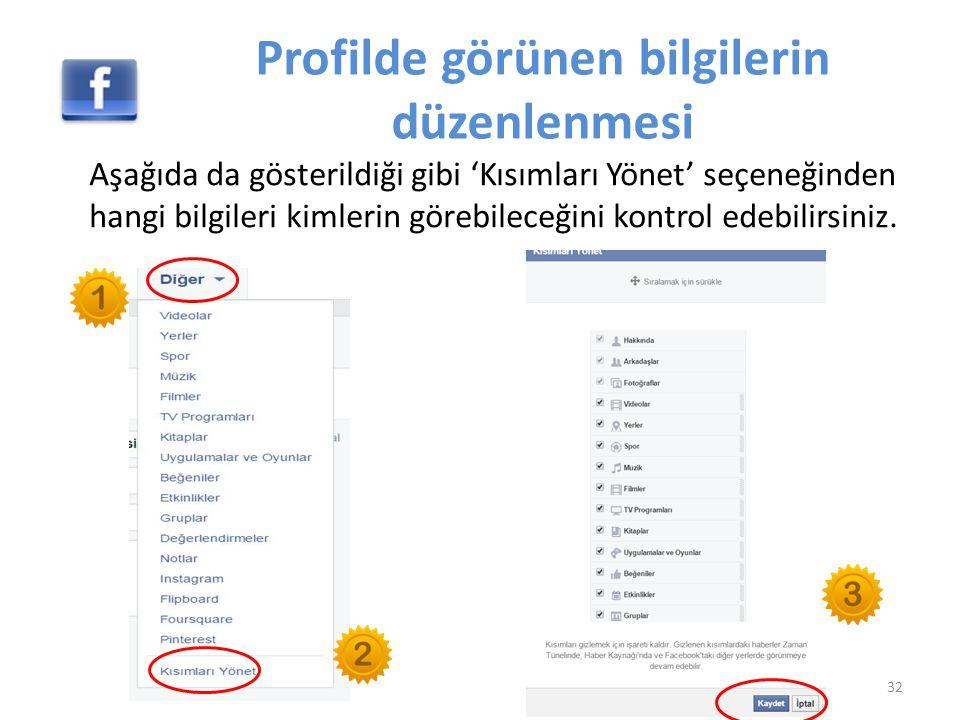 Profilde görünen bilgilerin düzenlenmesi