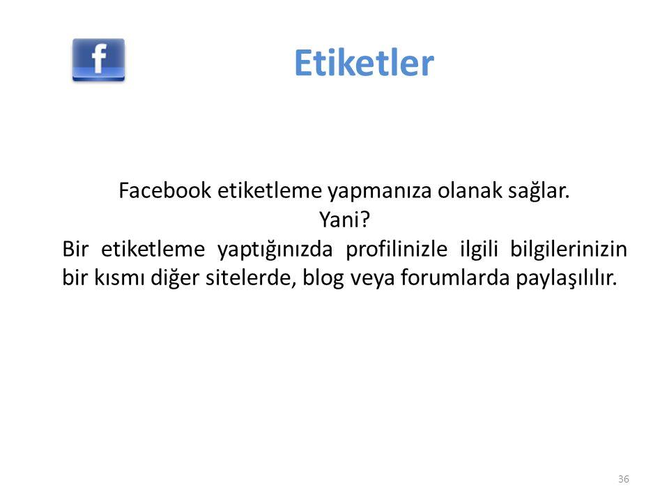 Facebook etiketleme yapmanıza olanak sağlar.