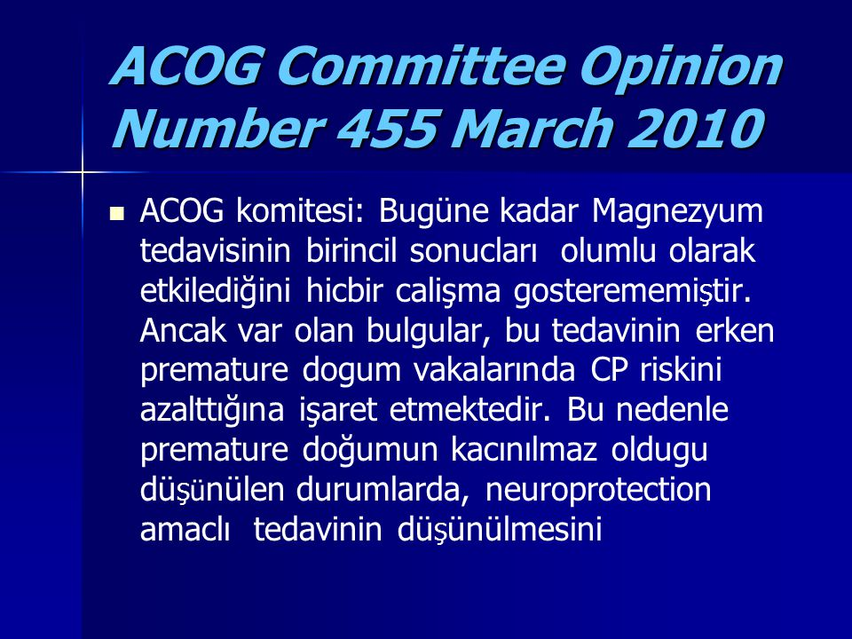 ACOG Committee Opinion Number 455 March 2010