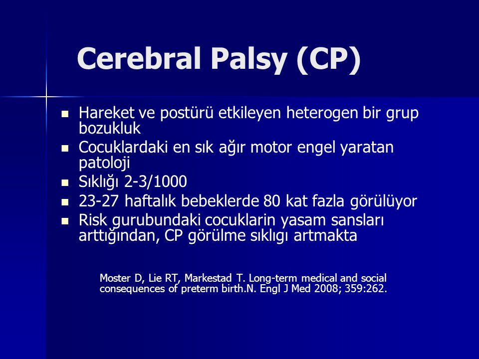 Cerebral Palsy (CP) Hareket ve postürü etkileyen heterogen bir grup bozukluk. Cocuklardaki en sık ağır motor engel yaratan patoloji.