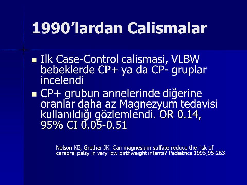 1990'lardan Calismalar Ilk Case-Control calismasi, VLBW bebeklerde CP+ ya da CP- gruplar incelendi.