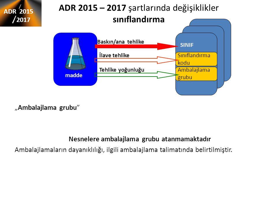 ADR 2015 – 2017 şartlarında değişiklikler sınıflandırma