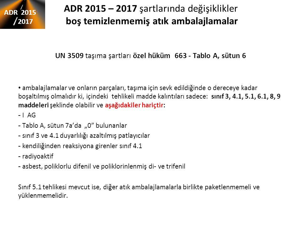 UN 3509 taşıma şartları özel hüküm 663 - Tablo A, sütun 6