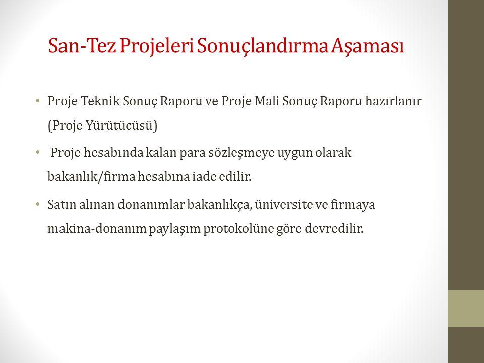 San-Tez Projeleri Sonuçlandırma Aşaması