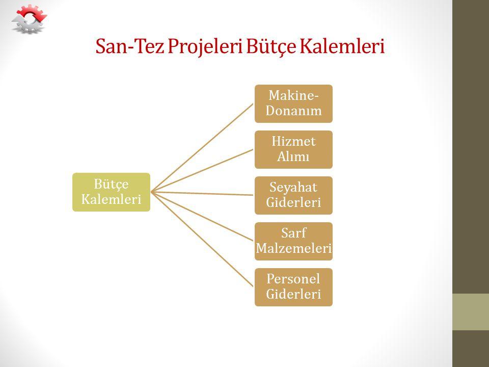 San-Tez Projeleri Bütçe Kalemleri