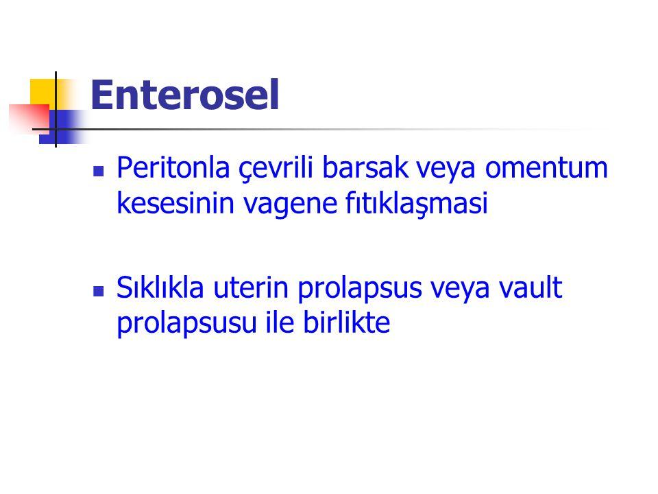 Enterosel Peritonla çevrili barsak veya omentum kesesinin vagene fıtıklaşmasi.