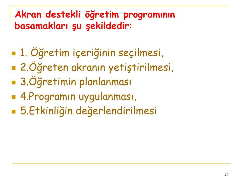Akran destekli öğretim programının basamakları şu şekildedir: