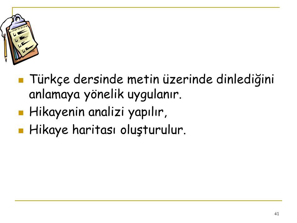 Türkçe dersinde metin üzerinde dinlediğini anlamaya yönelik uygulanır.