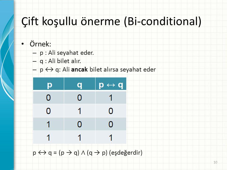 Çift koşullu önerme (Bi-conditional)