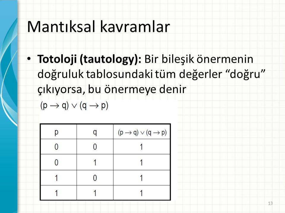 Mantıksal kavramlar Totoloji (tautology): Bir bileşik önermenin doğruluk tablosundaki tüm değerler doğru çıkıyorsa, bu önermeye denir.