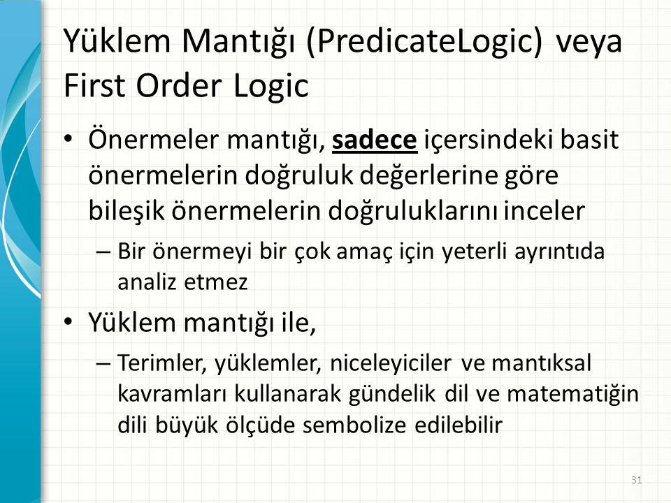 Yüklem Mantığı (PredicateLogic) veya First Order Logic
