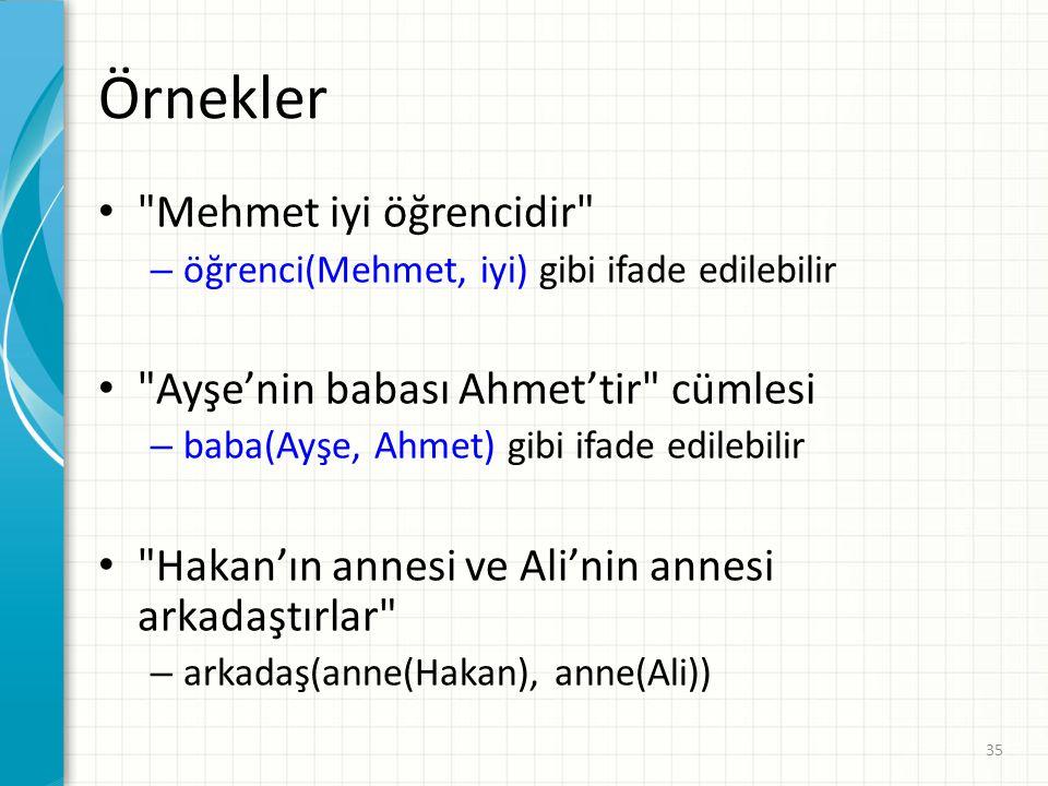 Örnekler Mehmet iyi öğrencidir Ayşe'nin babası Ahmet'tir cümlesi
