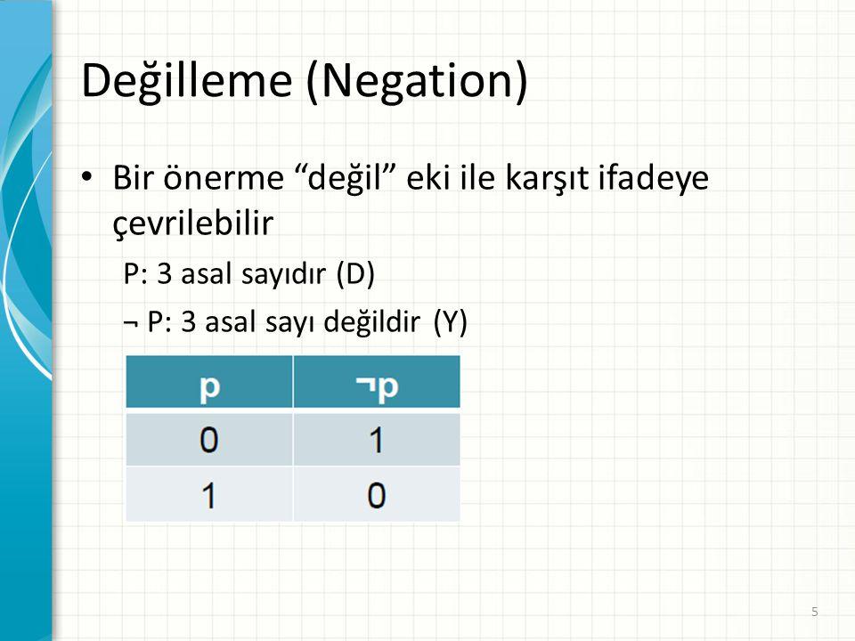 Değilleme (Negation) Bir önerme değil eki ile karşıt ifadeye çevrilebilir. P: 3 asal sayıdır (D)