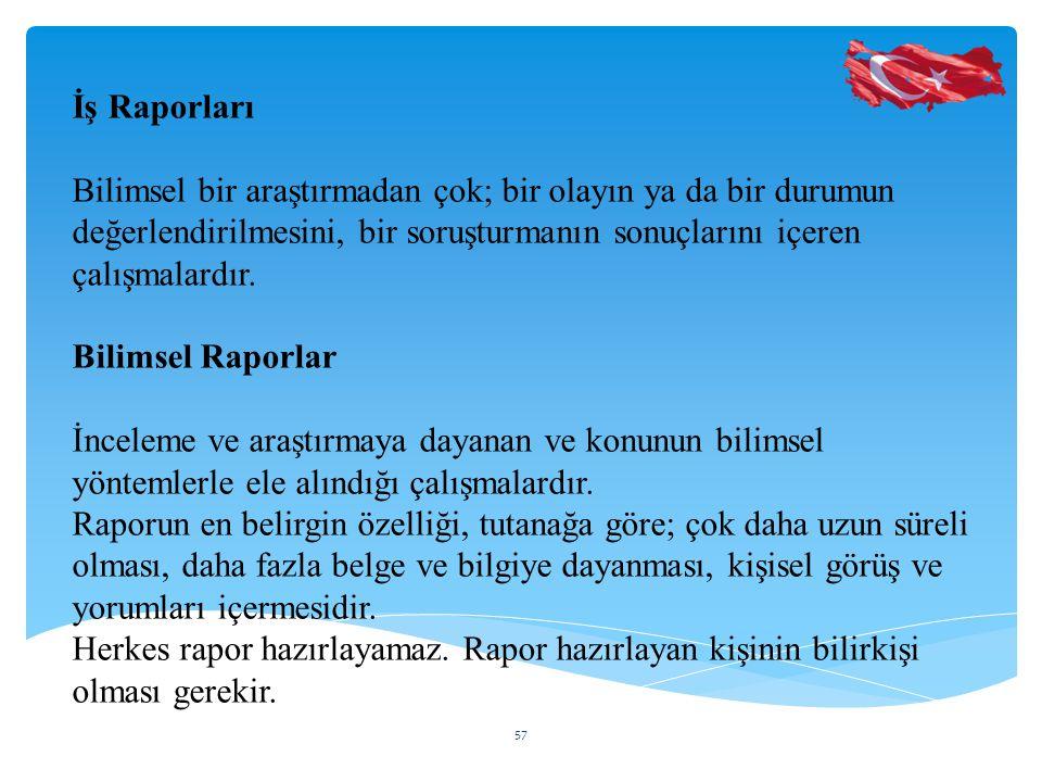 İş Raporları Bilimsel bir araştırmadan çok; bir olayın ya da bir durumun değerlendirilmesini, bir soruşturmanın sonuçlarını içeren çalışmalardır.