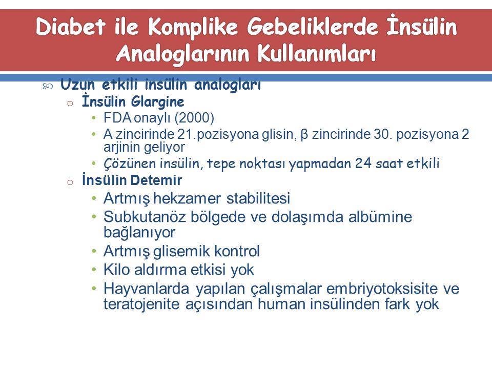Diabet ile Komplike Gebeliklerde İnsülin Analoglarının Kullanımları