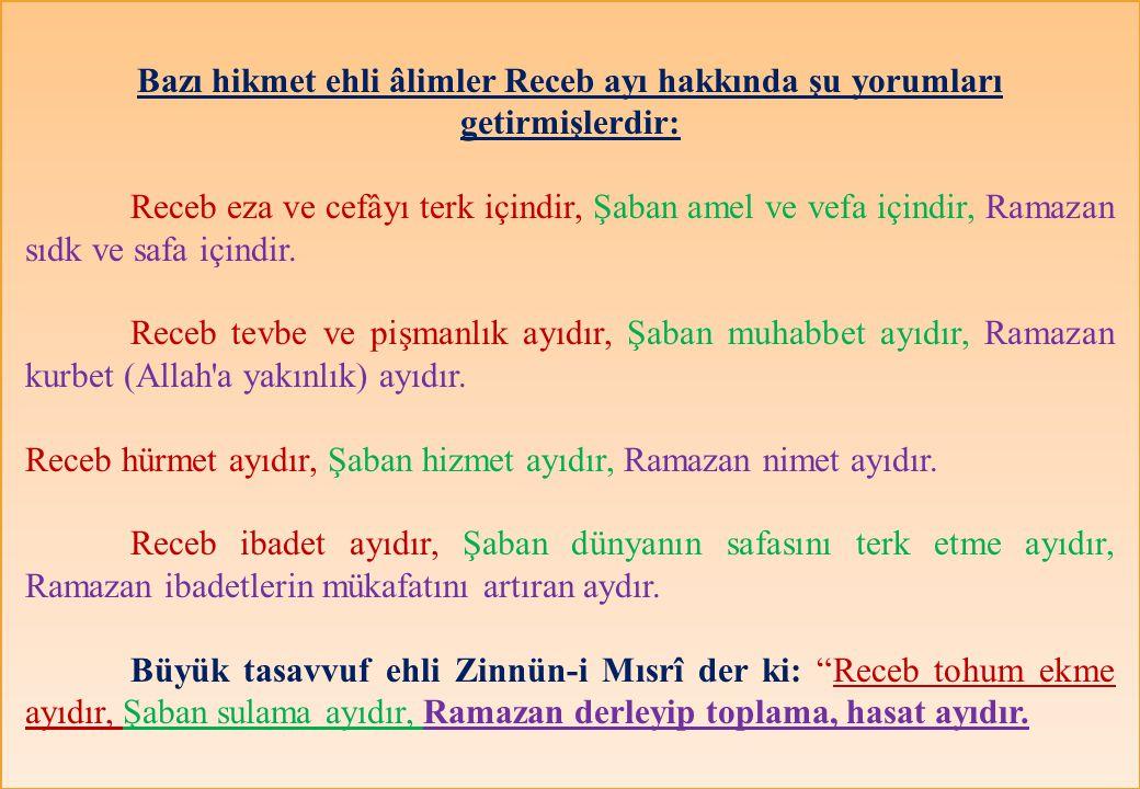 Bazı hikmet ehli âlimler Receb ayı hakkında şu yorumları getirmişlerdir: