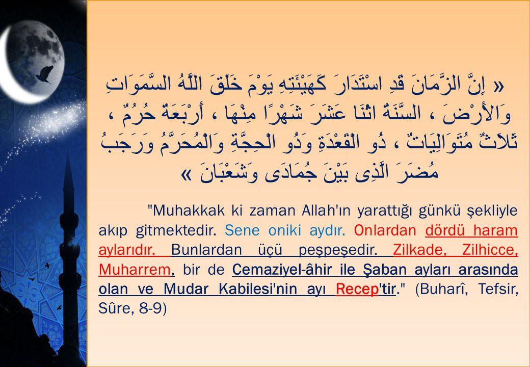 « إِنَّ الزَّمَانَ قَدِ اسْتَدَارَ كَهَيْئَتِهِ يَوْمَ خَلَقَ اللَّهُ السَّمَوَاتِ وَالأَرْضَ ، السَّنَةُ اثْنَا عَشَرَ شَهْرًا مِنْهَا ، أَرْبَعَةٌ حُرُمٌ ، ثَلاَثٌ مُتَوَالِيَاتٌ ، ذُو الْقَعْدَةِ وَذُو الْحِجَّةِ وَالْمُحَرَّمُ وَرَجَبُ مُضَرَ الَّذِى بَيْنَ جُمَادَى وَشَعْبَانَ »