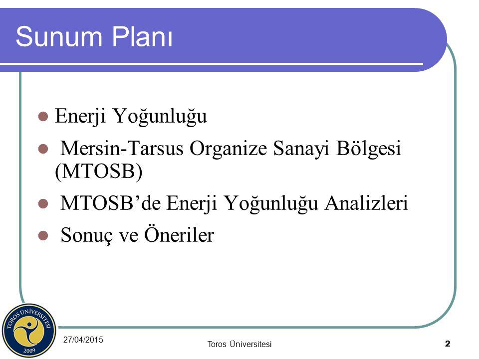 Sunum Planı Enerji Yoğunluğu