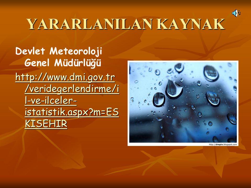 YARARLANILAN KAYNAK Devlet Meteoroloji Genel Müdürlüğü