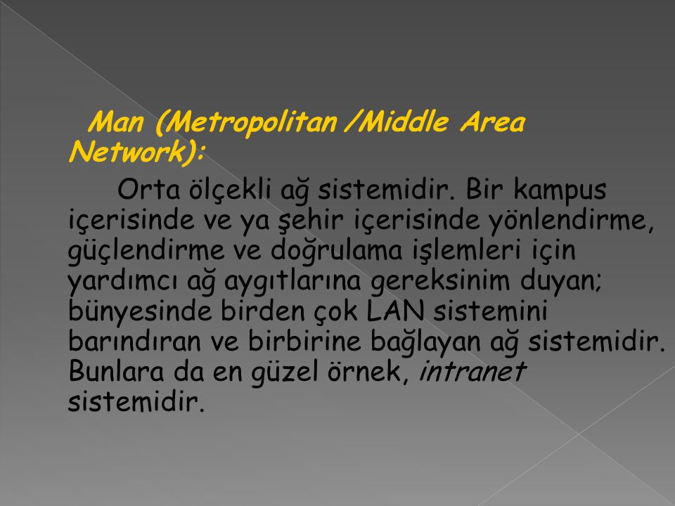Man (Metropolitan /Middle Area Network):