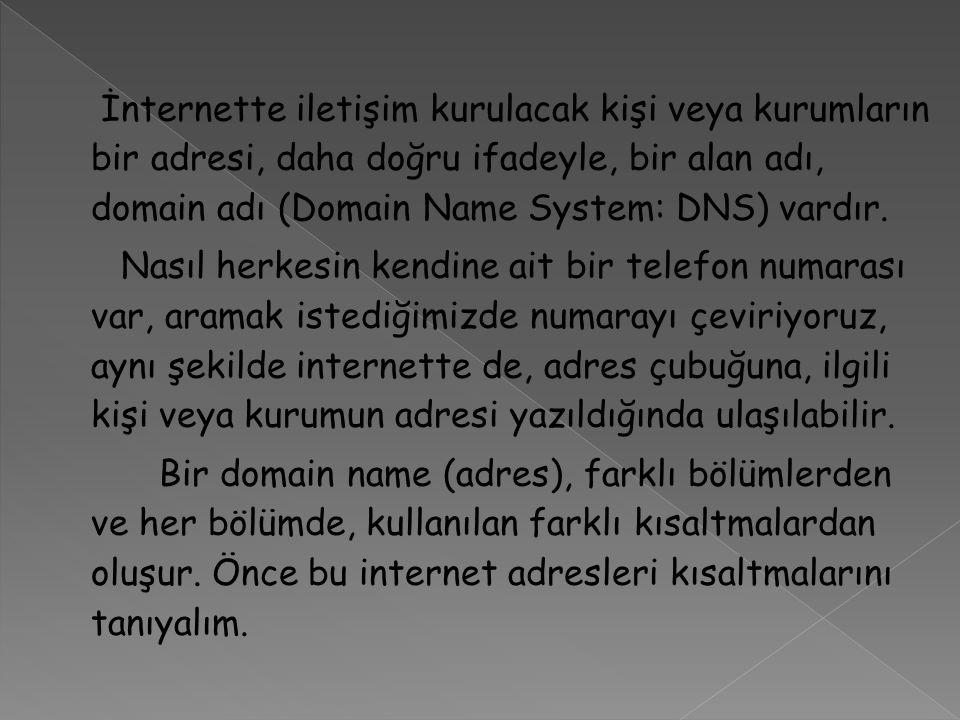 İnternette iletişim kurulacak kişi veya kurumların bir adresi, daha doğru ifadeyle, bir alan adı, domain adı (Domain Name System: DNS) vardır.