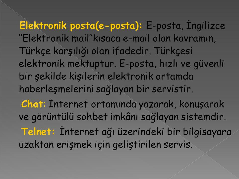 Elektronik posta(e-posta): E-posta, İngilizce ''Elektronik mail''kısaca e-mail olan kavramın, Türkçe karşılığı olan ifadedir.