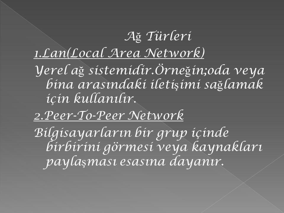Ağ Türleri 1.Lan(Local Area Network) Yerel ağ sistemidir.Örneğin;oda veya bina arasındaki iletişimi sağlamak için kullanılır.