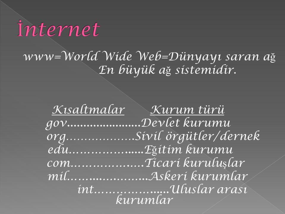 İnternet www=World Wide Web=Dünyayı saran ağ En büyük ağ sistemidir.