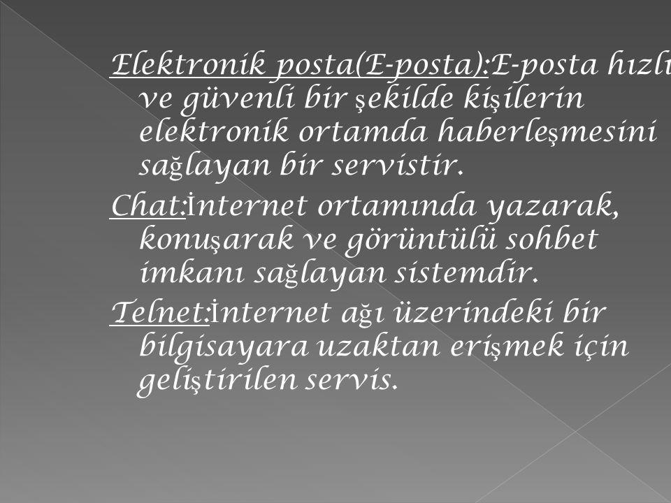 Elektronik posta(E-posta):E-posta hızlı ve güvenli bir şekilde kişilerin elektronik ortamda haberleşmesini sağlayan bir servistir.