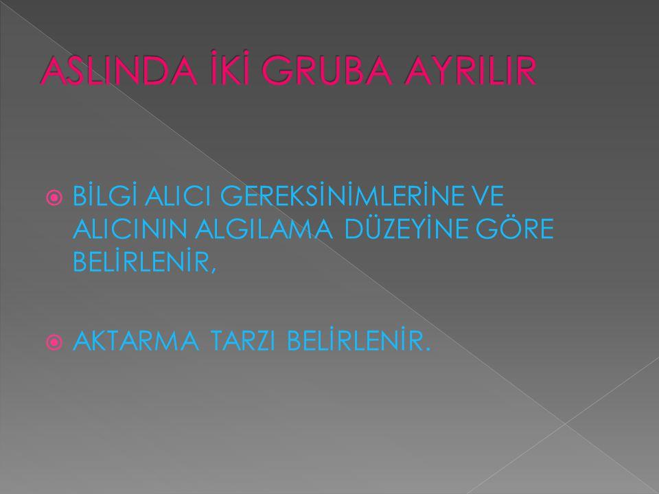 ASLINDA İKİ GRUBA AYRILIR